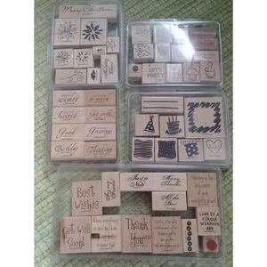 5 Stampin Up scrapbooking sets words xmas party